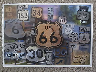 CLOSEOUT! Route 66 highway shield & others Post Card QUIK S&H