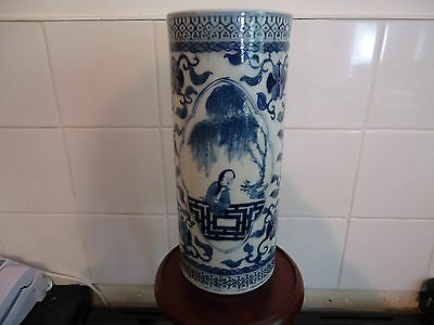19th c Chinese blue and white vase wite four charictar marks