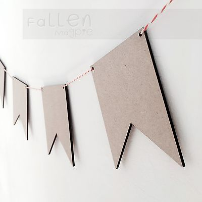 Wooden Party Bunting Square Flags Wedding Birthday Craft Blanks MDF Wood Shapes