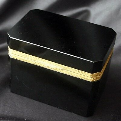 Antique French Opaline Black Glass Casket Box Ormolu