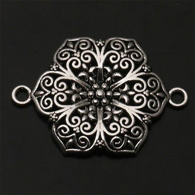 2 PCS Hollow Out Tibetan Silver Charms Jewelry Finding Connectors 41X29mm
