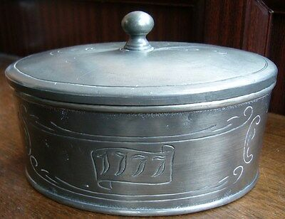 Antique Pewter Container / Trinket Box Marked Zinn 95% 1777