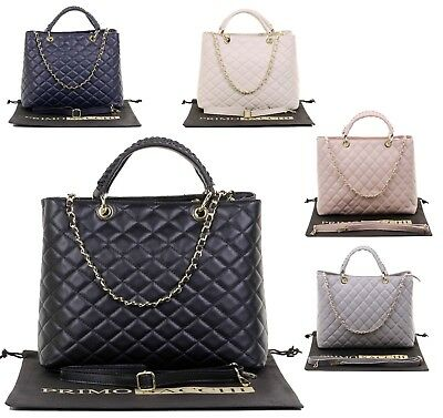 b5b6073fd73 Italian Leather Luxury Hand Made Large Ladies Quilted Shoulder Bag Tote  Handbag