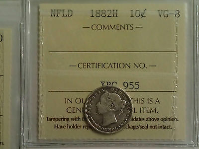 1882H Newfoundland 10-Cent Silver Coin - Iccs Certified Vg-8
