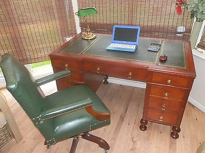 Antique Style Leather Top Desk, with matching High back Chair a truly fantastic