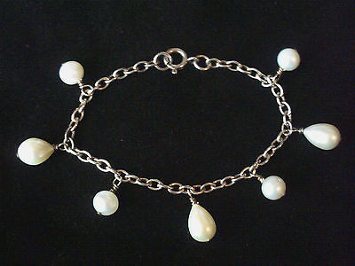 Sterling silver Freshwater Pearl dangle charm bracelet 925 7 inches