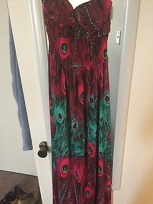 Pink and green peacock dress. xl from guess