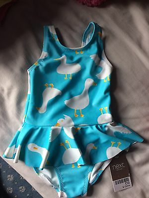 Bnwt Next Swimming Costume 9-12 Months Duck Print Summer Holiday Baby Girl