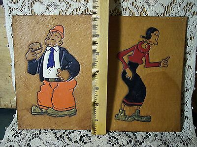vintage popeye Olive Oye Wimpy leather tooled painted pictures