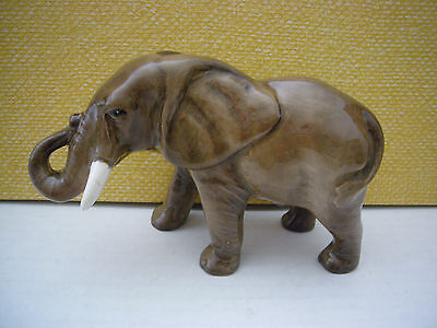 Coopercraft Porcelain Elephant Figurine Tusks Trunk Up Marked England