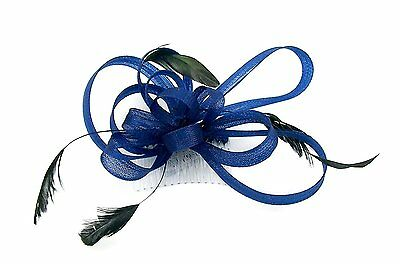 Navy Blue looped fascinator comb. Wedding Races, Ladies Day