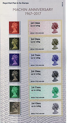 Gb 2017 Machin Anniversary Post And Go Stamps In Pack: Mint: Issued 5/6/2017
