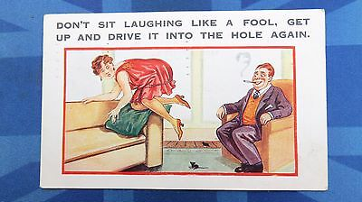 Risque Comic Postcard 1931 Upskirt Silk Stockings Mouse Hole INNUENDO Theme