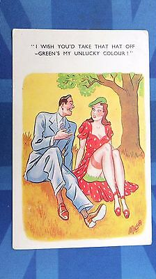 Risque Comic Postcard 1940s Upskirt Nylons Stockings Green French Knickers Hat