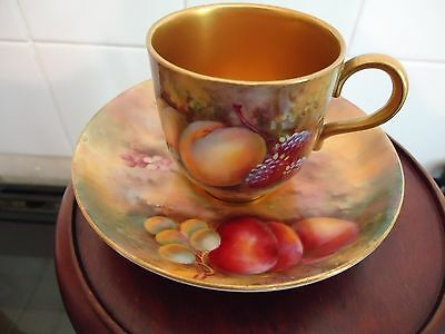 Royal Worcester hand painted fruit cup and saucer