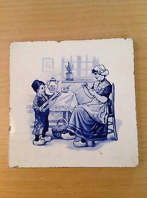 Antique Dutch Blue and White Ceramic Tile  Rare