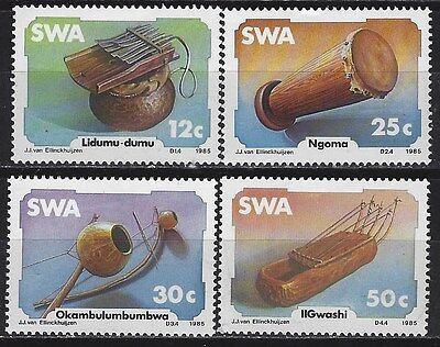 SOUTH WEST AFRICA 1985 Sc#544-7 ENDEMIC MUSICAL INSTRUMENTS COMP MNH SET 0098