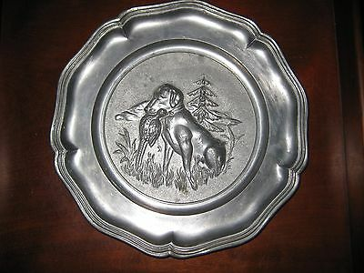 VINTAGE PEWTER WALL HANGING / PLATE DOG & PHEASANT GERMAN c 1950's