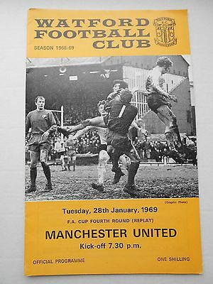 Watford Manchester United FA Cup 4th rd replay Jan 1969  ..Mint