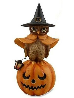 """Bethany Lowe Designs """"Witch Owl On Pumpkin with Lantern"""" TD1335"""