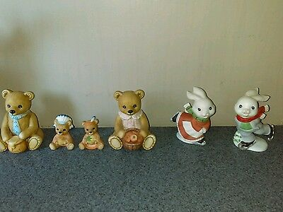 Lot of HOMCO Figurines Bears  and Bunnies