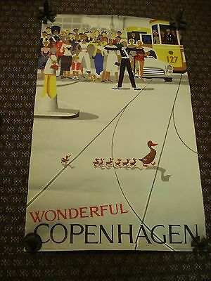 Vintage Original Copenhagen Ducks Poster 1959 Tourist Association Sorensen & Co