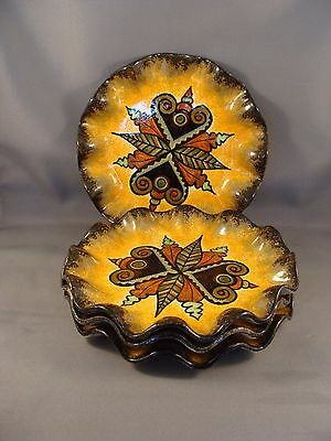 4 Paul Fouillen Quimper France Fluted Edge Hand Painted Faience 7 Inch Saucers