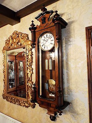 Antique 2 weight Vienna regulator wall clock walnut