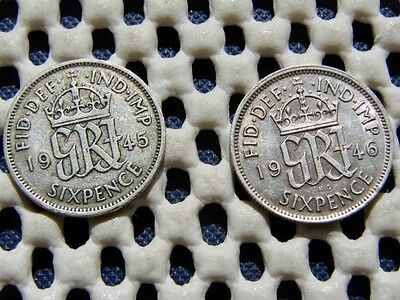 George VI. silver  SIXPENCE  1945  & 1946.
