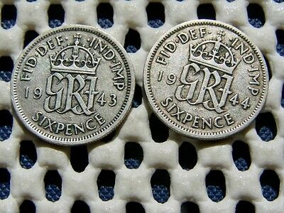 George VI. silver  SIXPENCE  1943  & 1944.