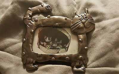 Vintage Small Kitty Cat Shaped Metal Picture Frame CUTE!!!!