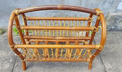 Vintage Bamboo Magazine / Paper Rack Pre-owned 1970s