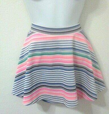 Euc Girls Justice Multicolor Stripe Mini Tennis  Running Skirts Skorts Size 16