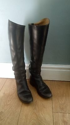 long black leather riding boots, size 6