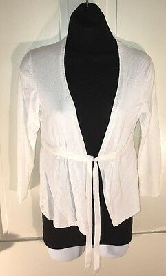 Women's Express Open Cardigan Tie Front Long Sleeve White Size Med