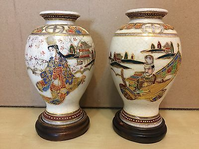 Antique Japanese Vases Miniature Pair Signed With Stands