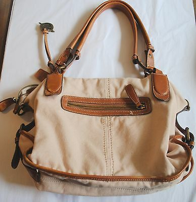 Born Crown Beige Canvas Brown leather Shoulder Bag Purse Handbag