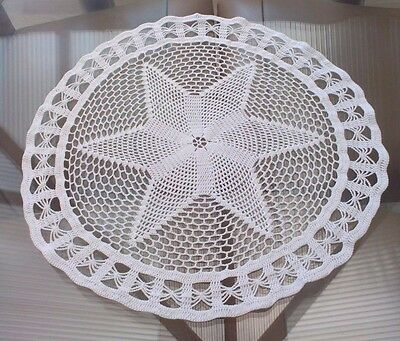 Large Vintage White Hand Crocheted Cotton Table Center / Doily ~ Star Design