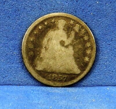 US Coin 1857 P Seated Liberty Silver Half Dime Variety 2 ASW 0.0388 Better Date