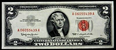 US Currency 1963 $2 Two Dollar United States Note Red Seal FR 1513