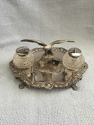 Antique Sheffild  Silver Plated Inkstand James Deakin & Sons 2 Inkwell Set
