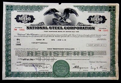 Stock Certificate 1976 National Steel Corporation $1000 Shares 1st Mortgage Bond