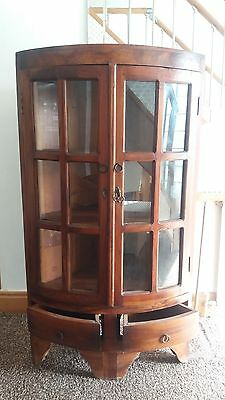 Antique Indonesian Bespoked Corner Display Cabinet