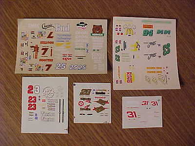 Five 1/64 DALE EARNHARDT JR , DAVEY ALLISON, ALAN KULWICKI, HUT STRICKLIN DECALS