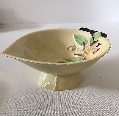 Carlton Ware Apple Blossom Leaf Bowl Yellow With Stand