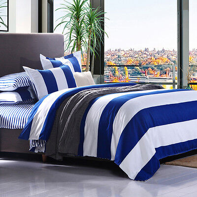 4Pcs Queen Size Blue White Stripe Quilt Duvet Cover Sheet Pillowcase Bedding Set