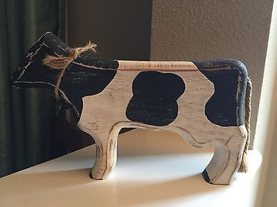 Wood Cow Country Folk Art Primitive Style Home Decor