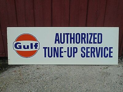 "Vintage GULF SIGN 36""x12"" Authorized Tune-Up Service Gas Oil Advertising Garage"