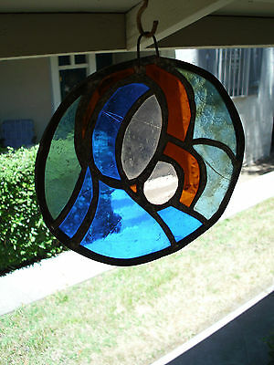 Virgin Mary Jesus Madonna Vintage STAINED GLASS Suncatcher Original RELIGIOUS