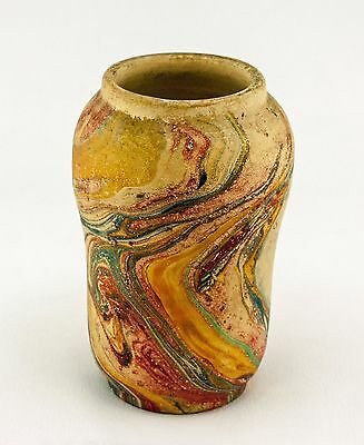 Bauer Vintage c.1920 Swirled Poly-chrome Paint Hard Bisque Art-ware Pottery Vase